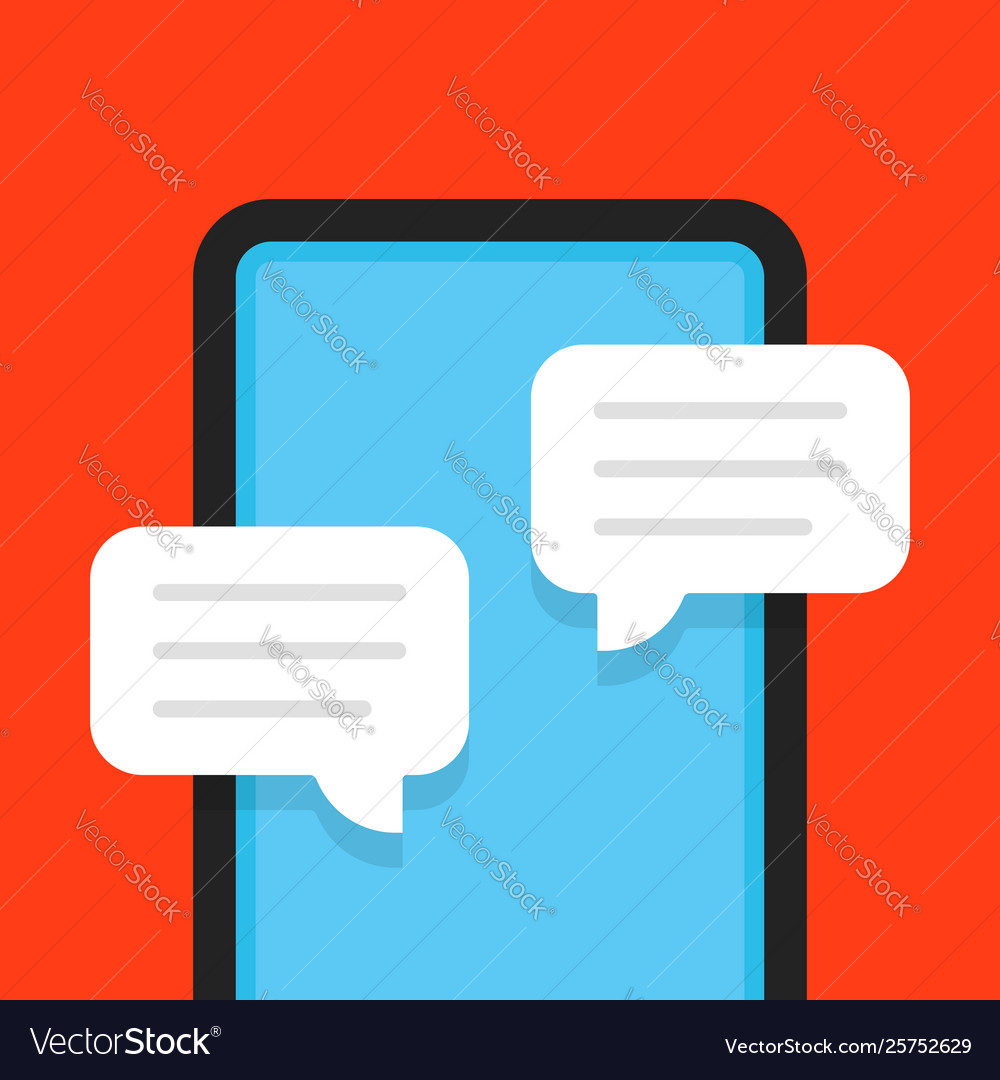 Flat style online chat with frameless phone