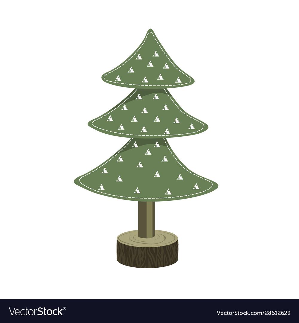 Handmade christmas tree toy from felt on wooden