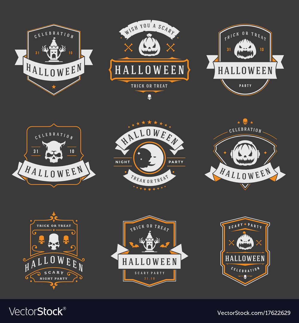 Happy halloween labels an badges design set
