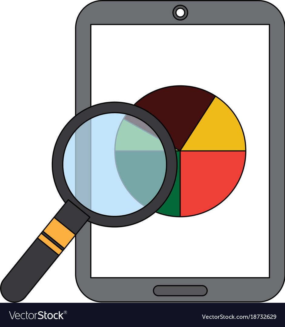 Mobile Phone And Pie Chart Statistics Magnifier Vector Image