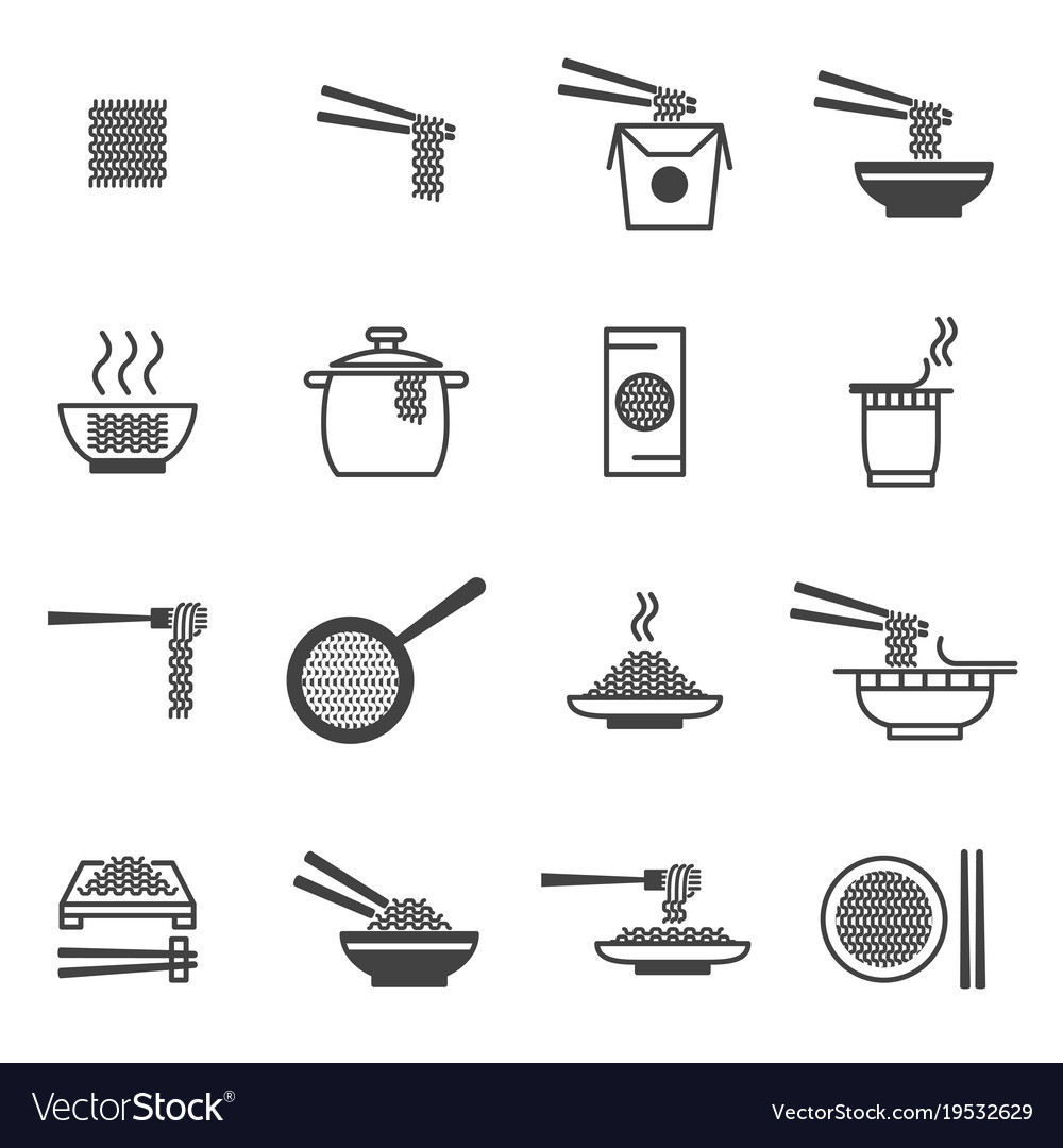 Noodle signs black thin line icon set vector image