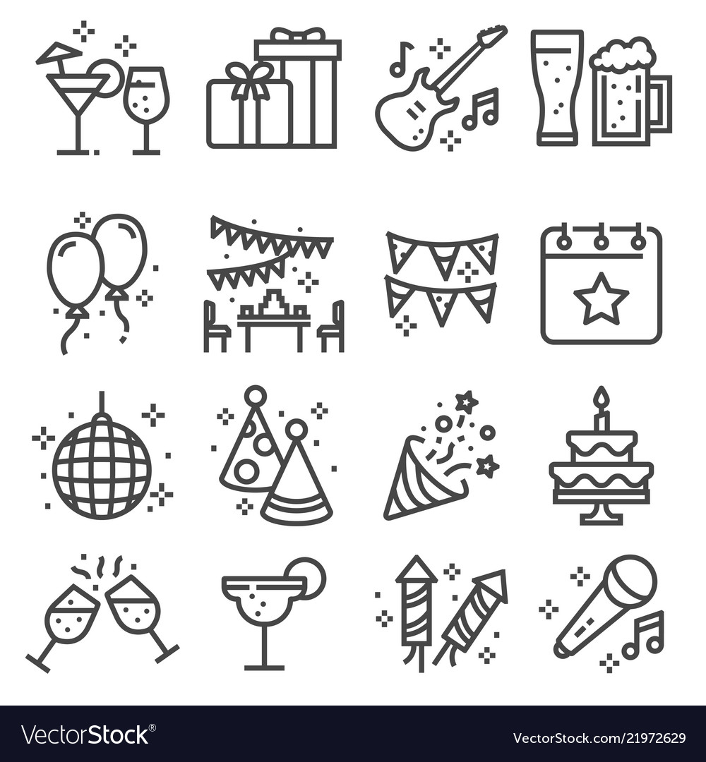 Party birthday celebration line web icons set