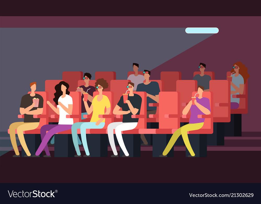 People watching movie in cinema hall interior