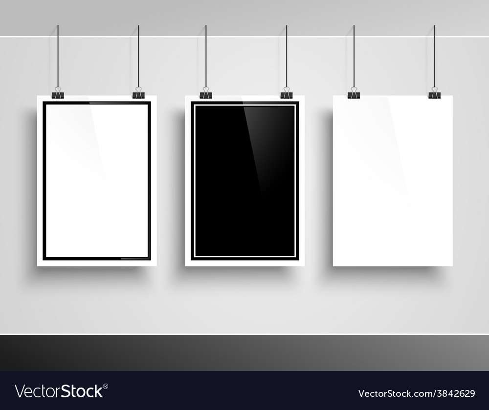 Photo frame on white wall vector image