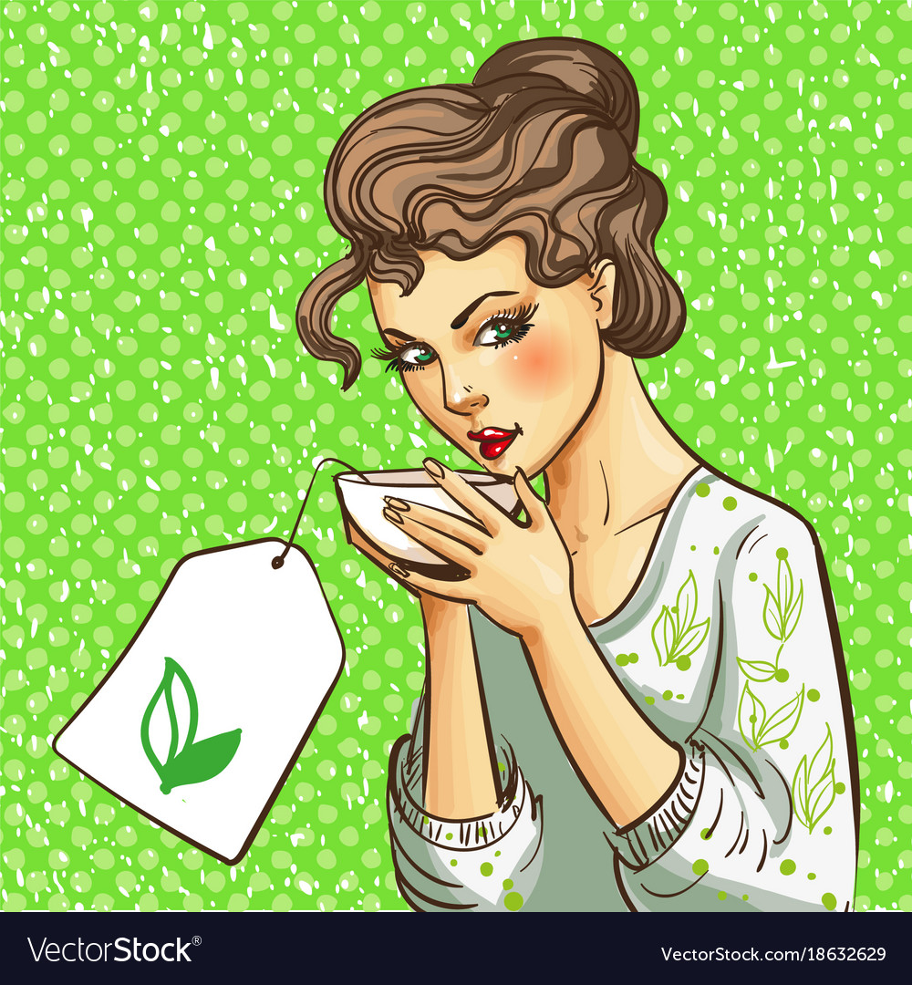 Pop art of woman with cup of