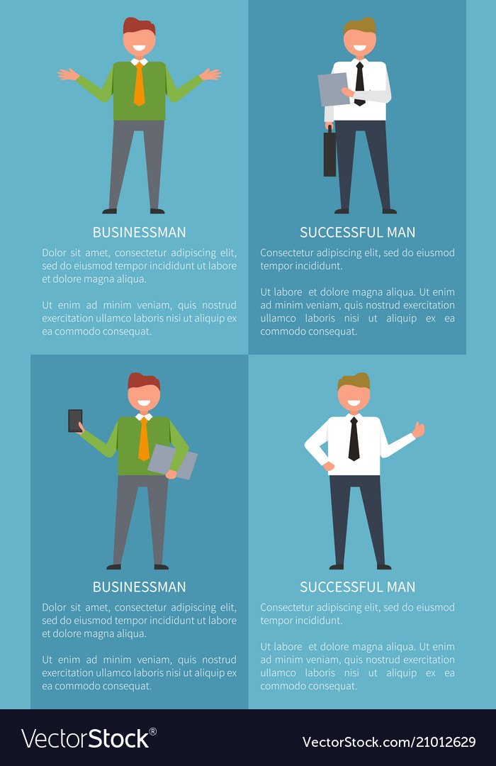 Successful businessman set of colorful posters