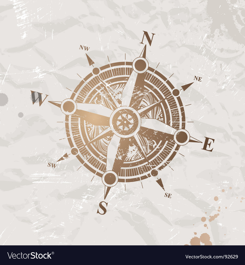 vintage paper with compass rose royalty free vector image