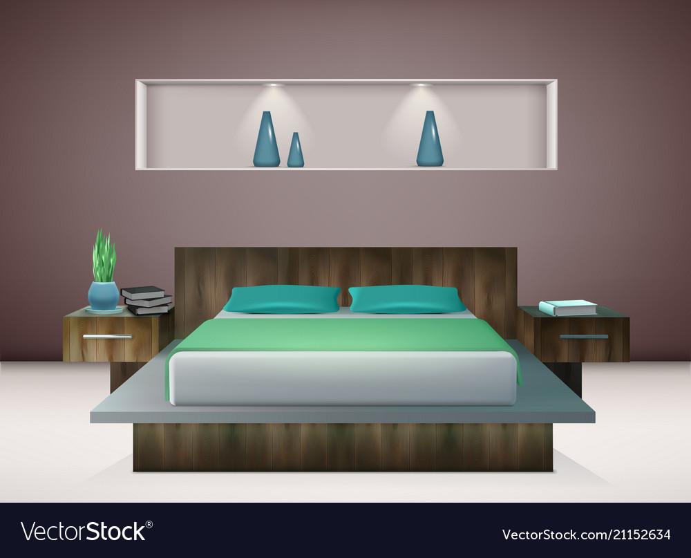 Bedroom interior realistic Royalty Free Vector Image