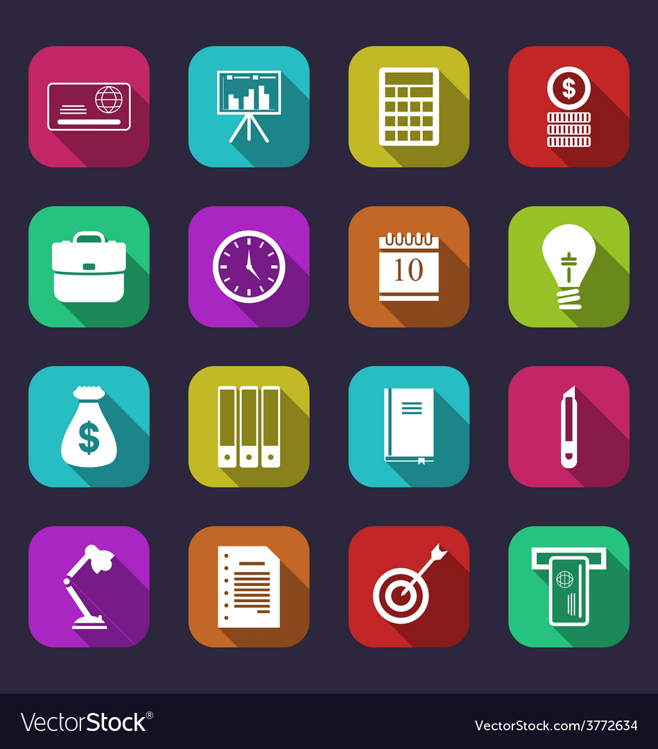 Business and financial items colorful flat icons