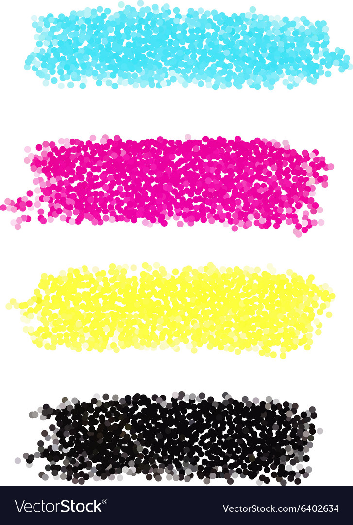 CMYK dotted brush strokes