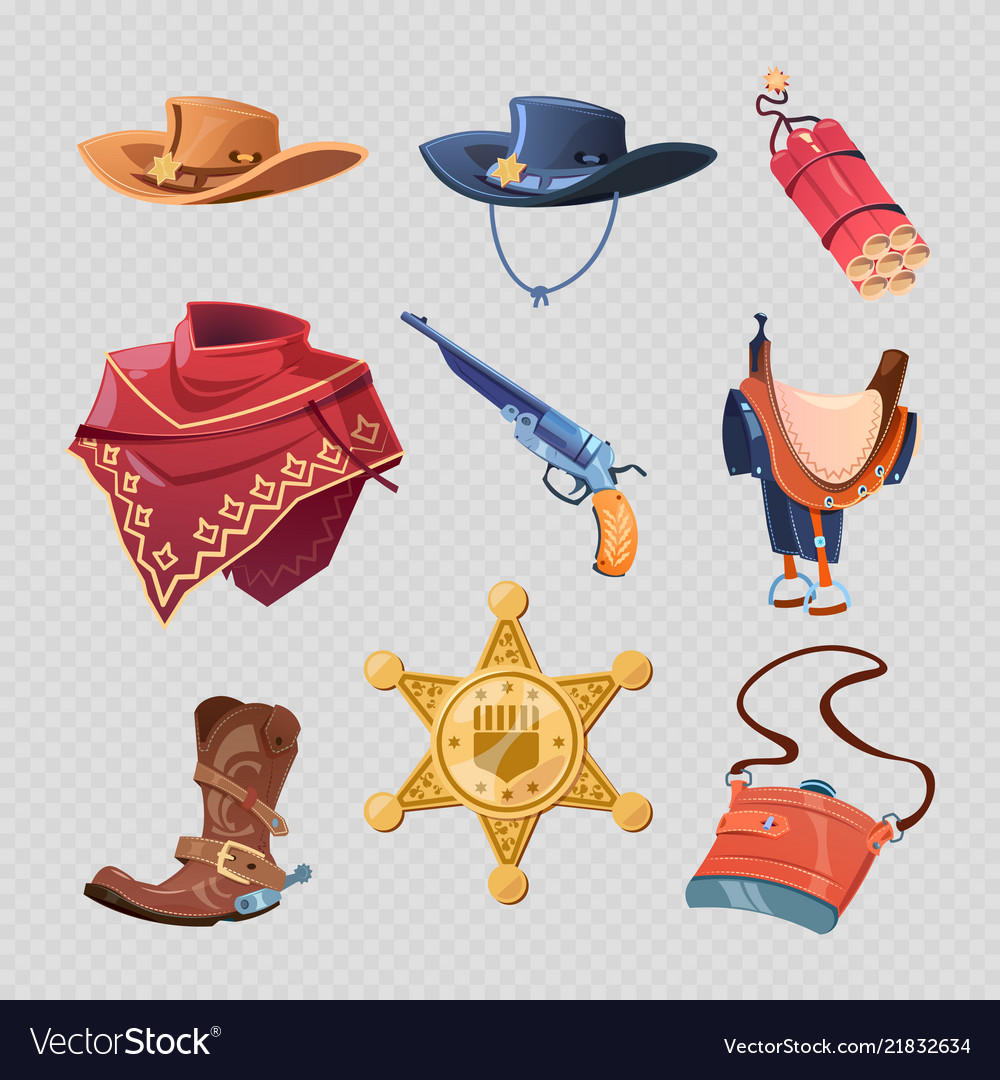 Cowboy or western sheriff accessorises isolated on
