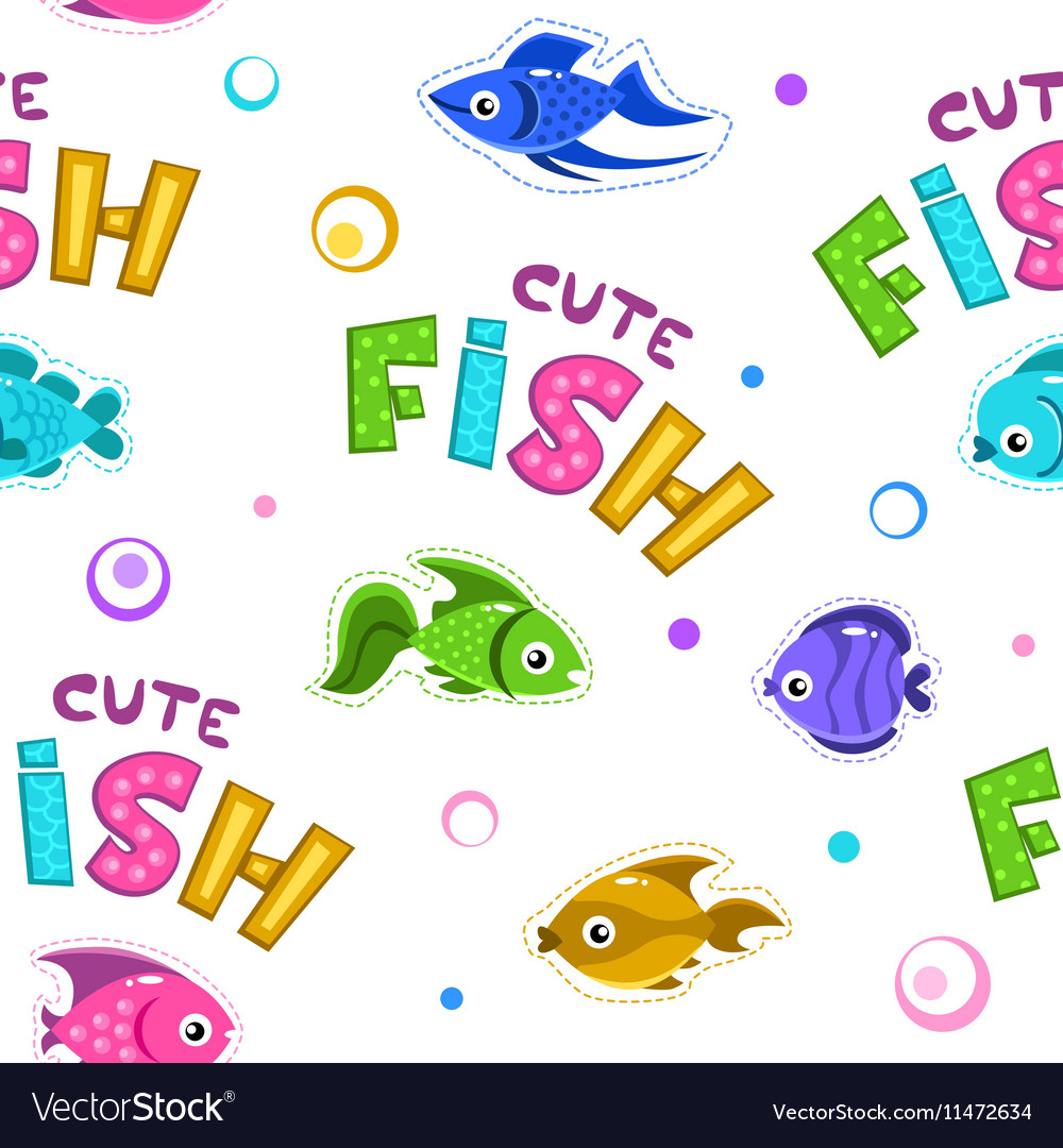 Funny seamless pattern with fishes