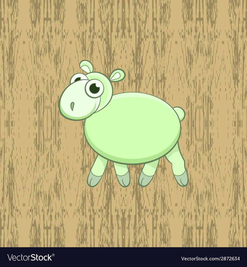 Green cartoon sheep on wood background