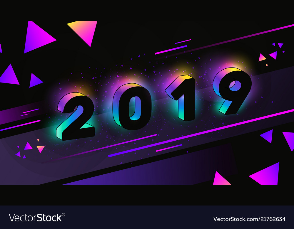 Happy new year 2019 with neon glow