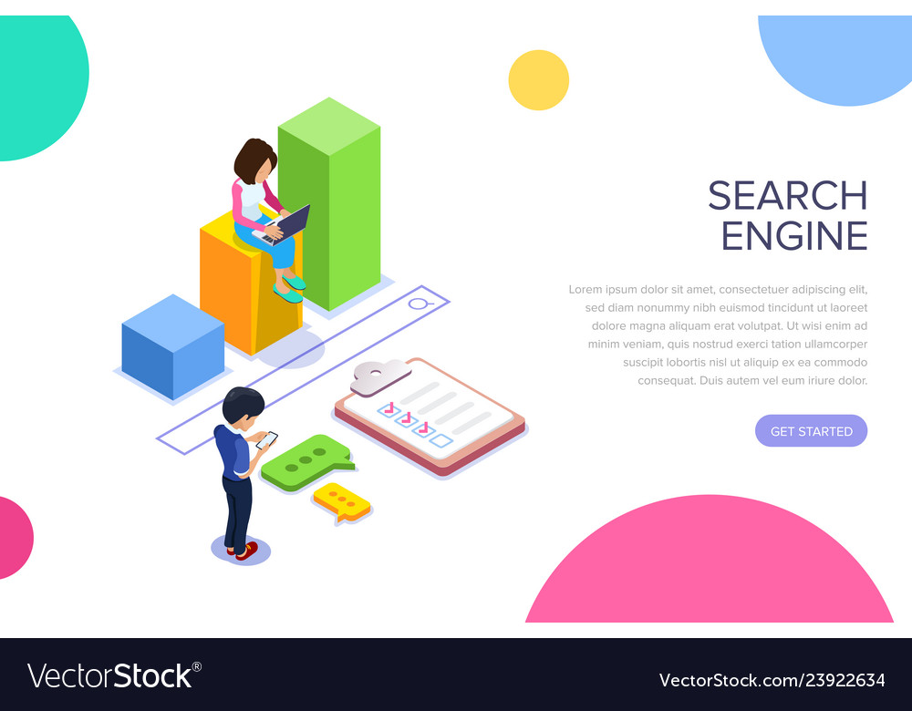 Isometric search engineg concept people find