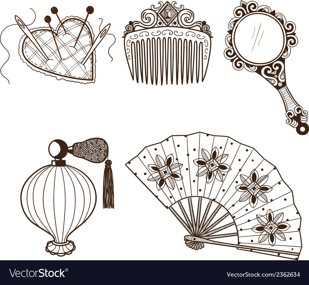 Ladys vintage beauty accessories collection vector image