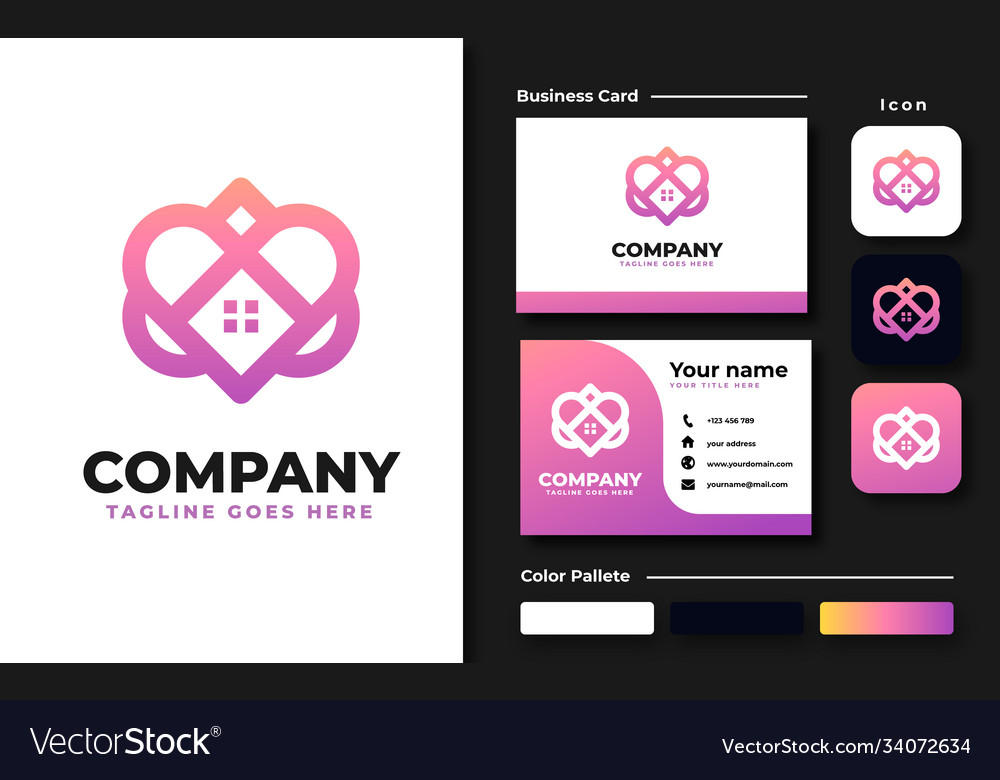 Love with rohouse logo design template