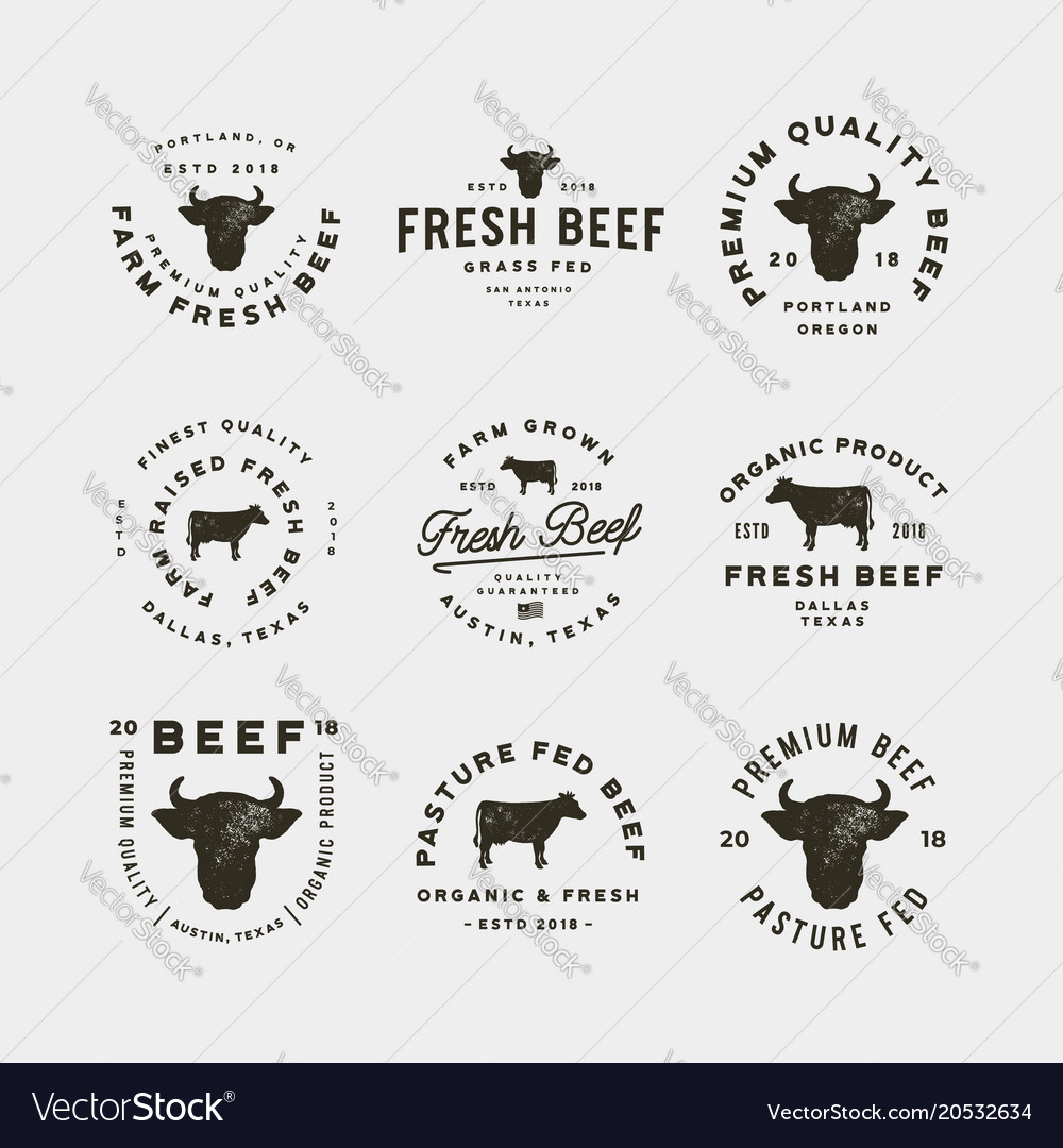 Set of premium fresh beef labels