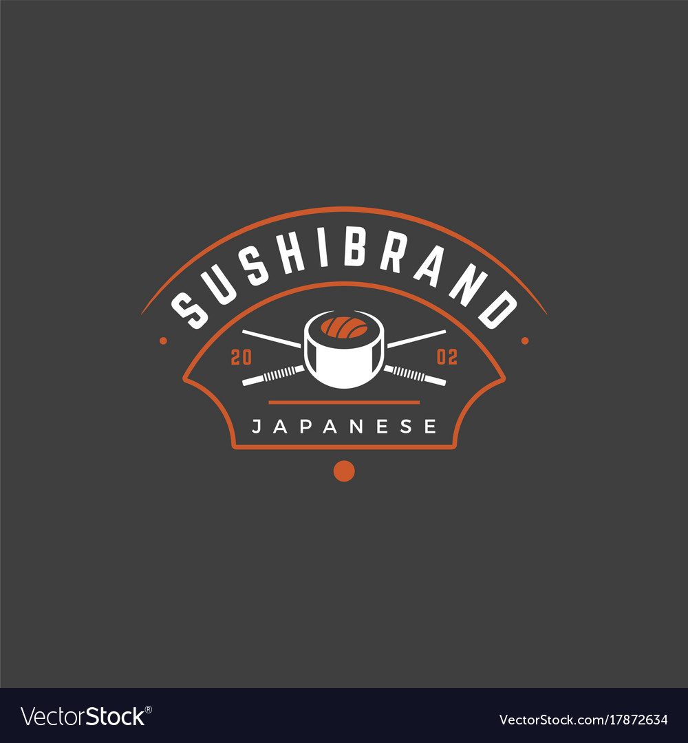 Sushi shop logo template object and icons