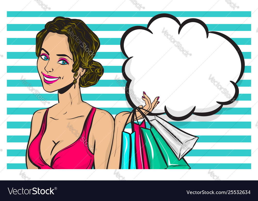 Vintage pop art girl shopping wow face