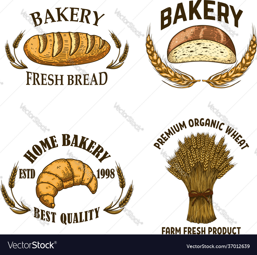 Bakery set emblems with bread in engraving