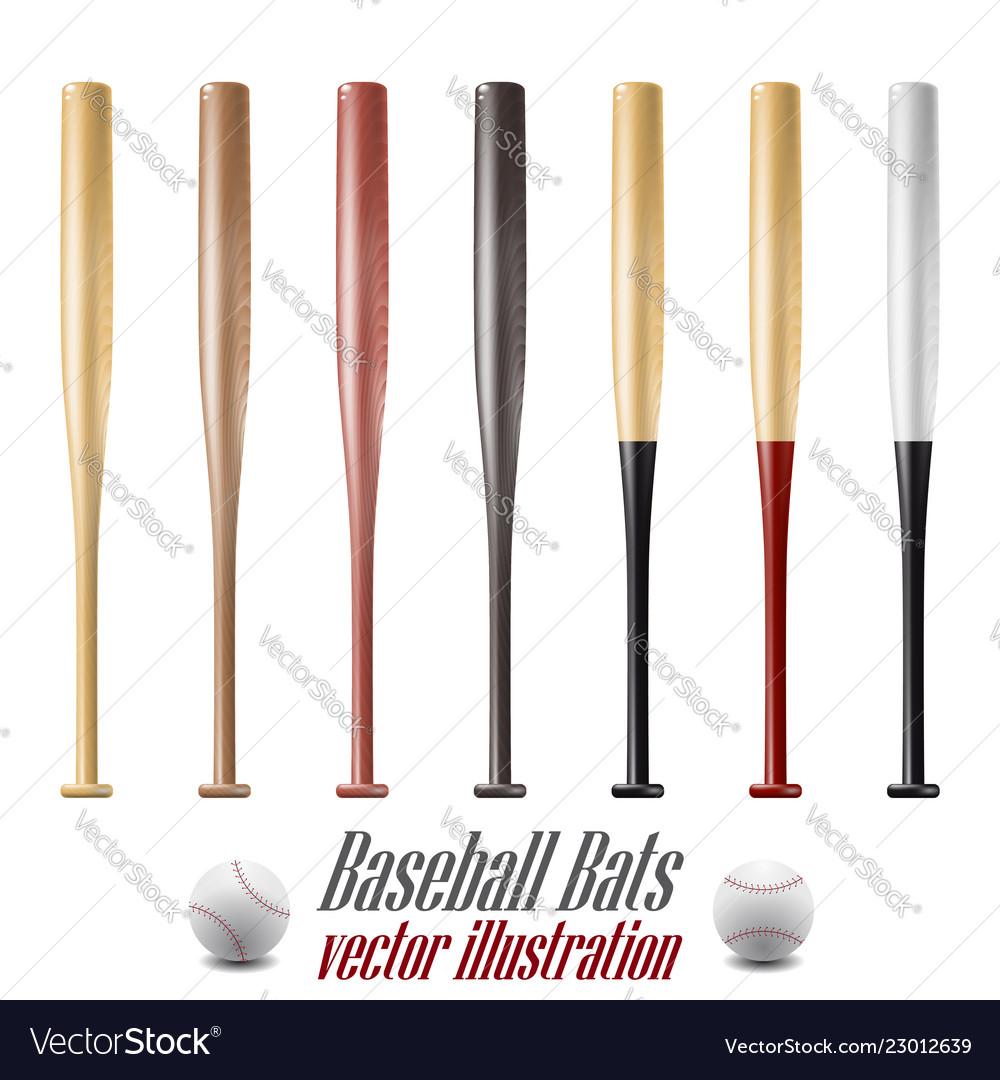 Baseball and baseball bats set isolated on white