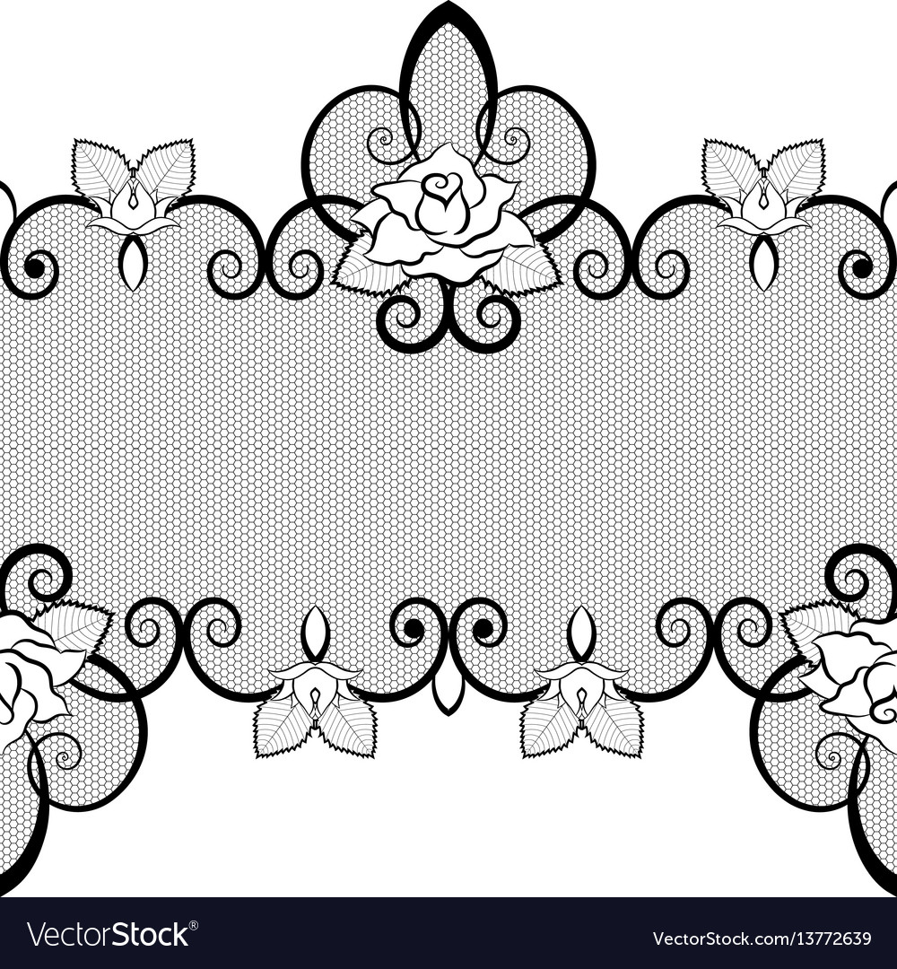 Black lace seamless pattern with roses on white