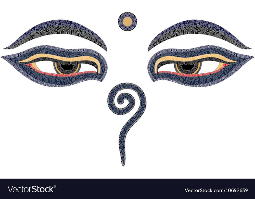 Buddha Eyes Nepal Symbol Of Wisdom And Royalty Free Vector