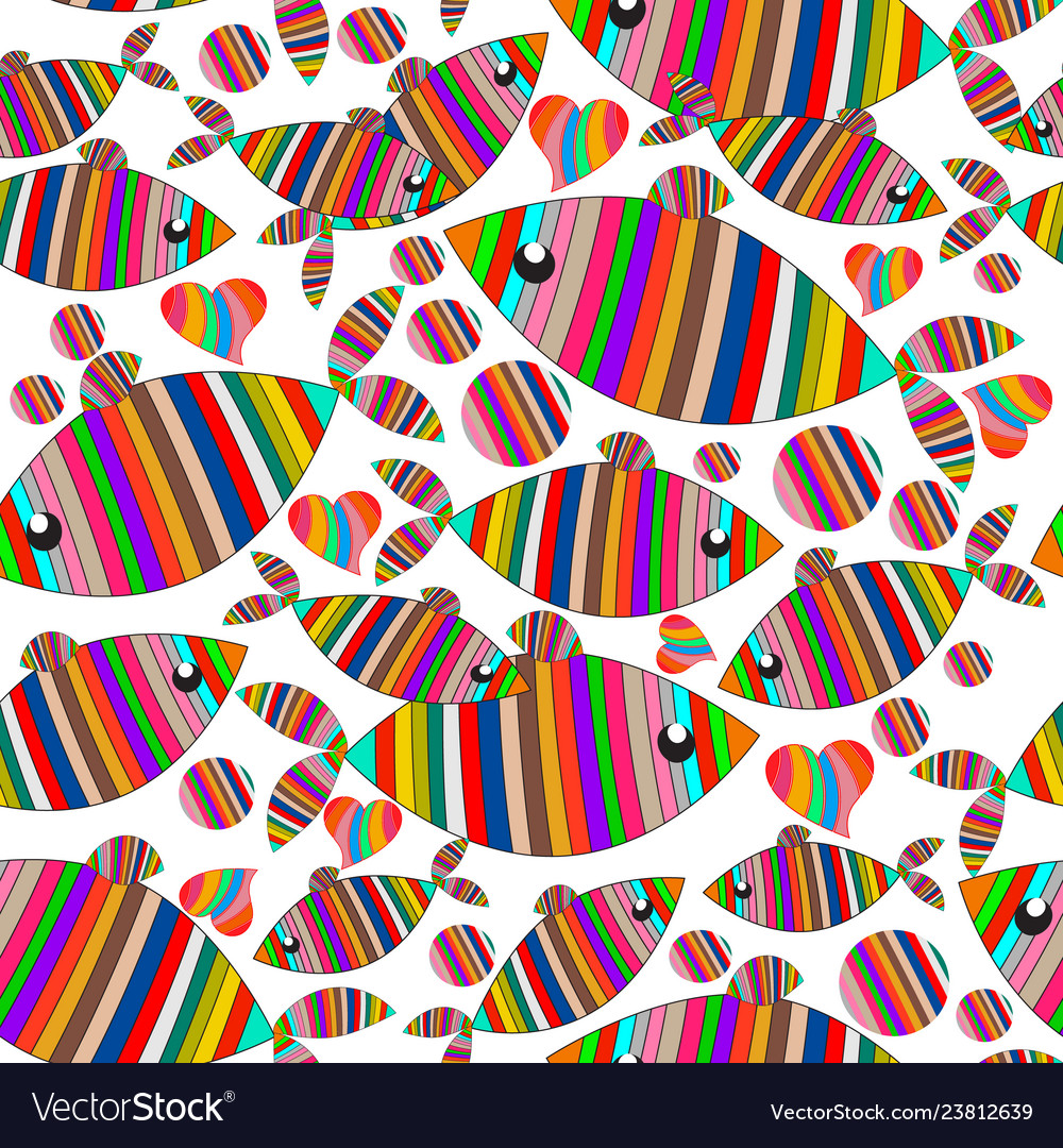 Cartoon abstract striped fishes seamless pattern