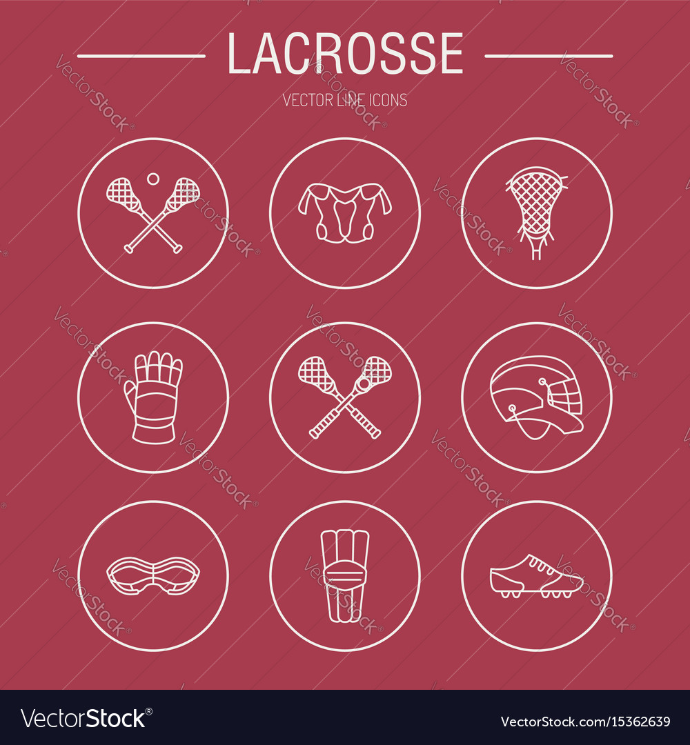Lacrosse sport game line icons ball stick