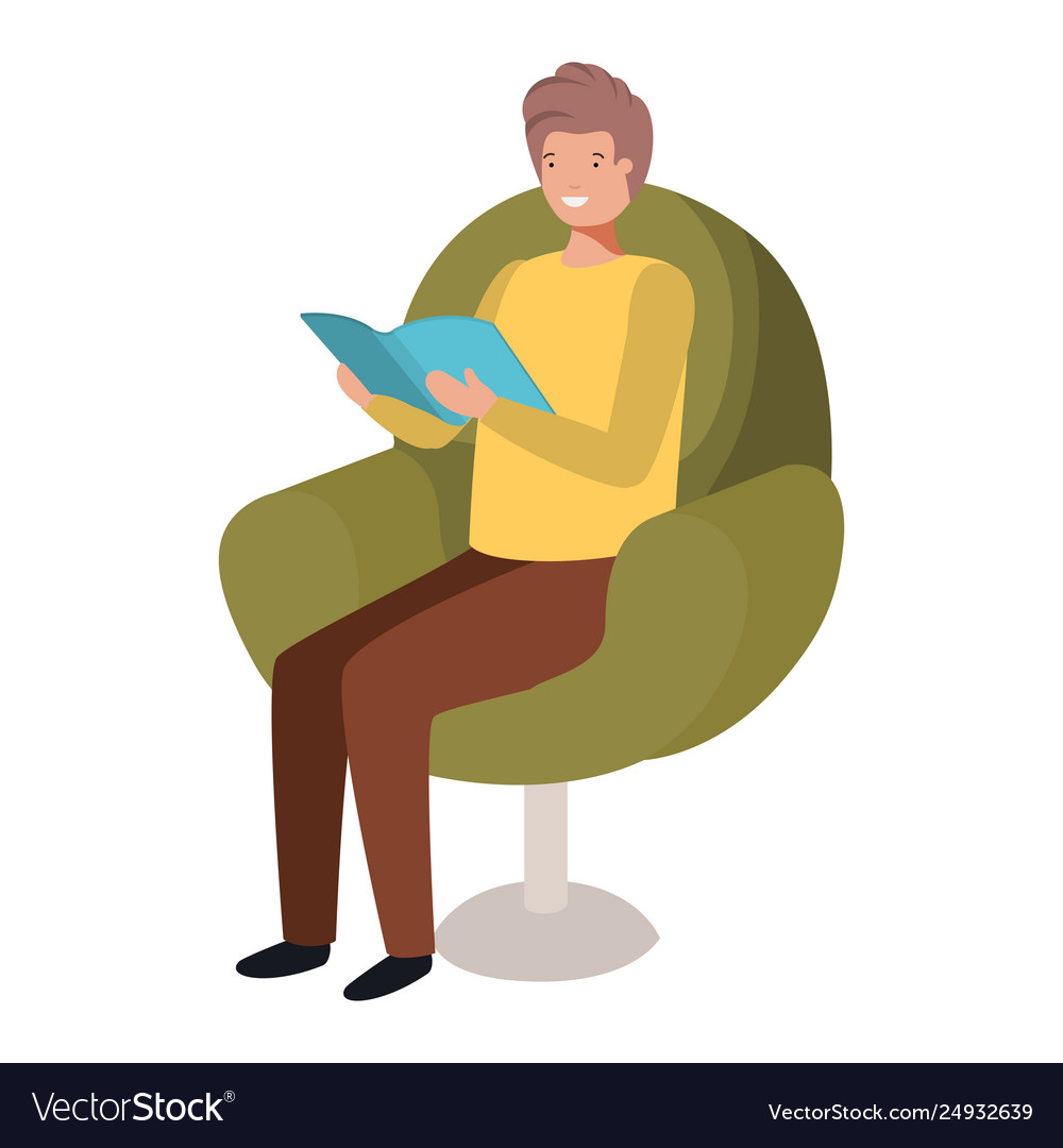 Man reading book in sofa avatar character