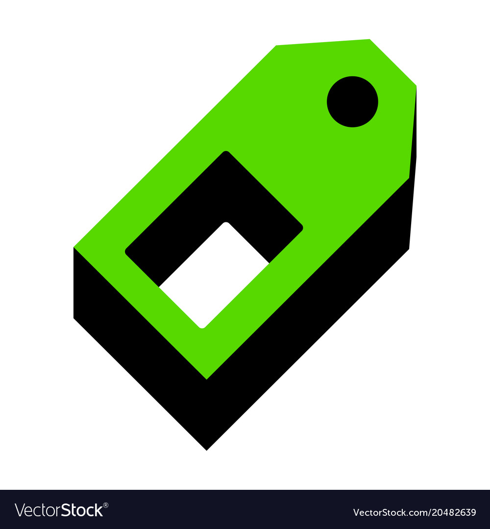 Price tag sign green 3d icon with black