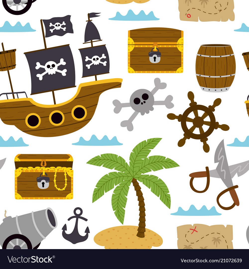 Seamless pattern with pirates elements