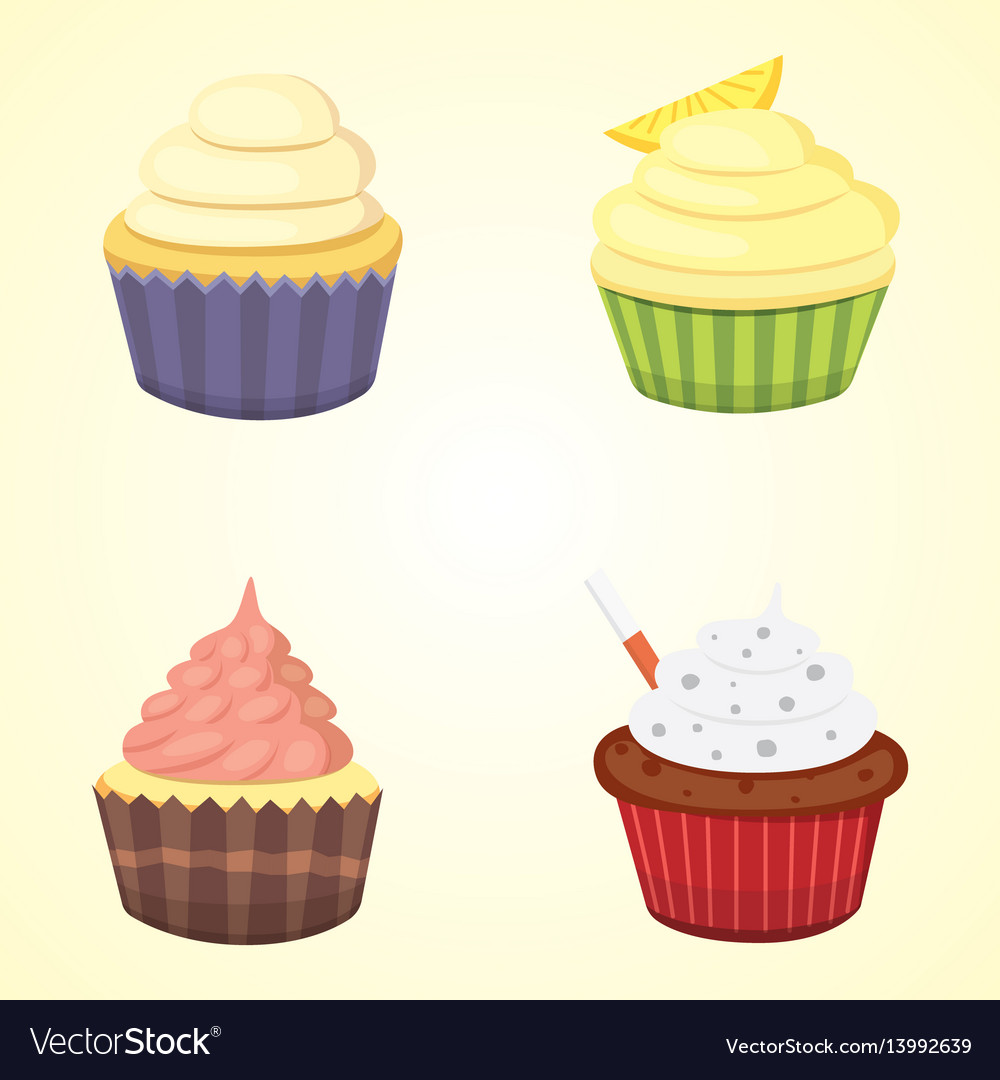 Set of cute cupcakes and muffins colorful