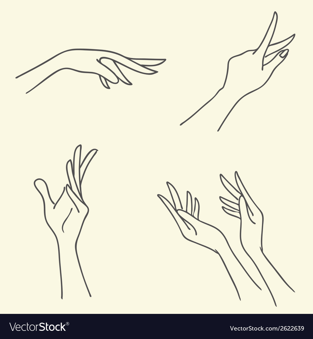 Set of Symbolic signs with hands vector image