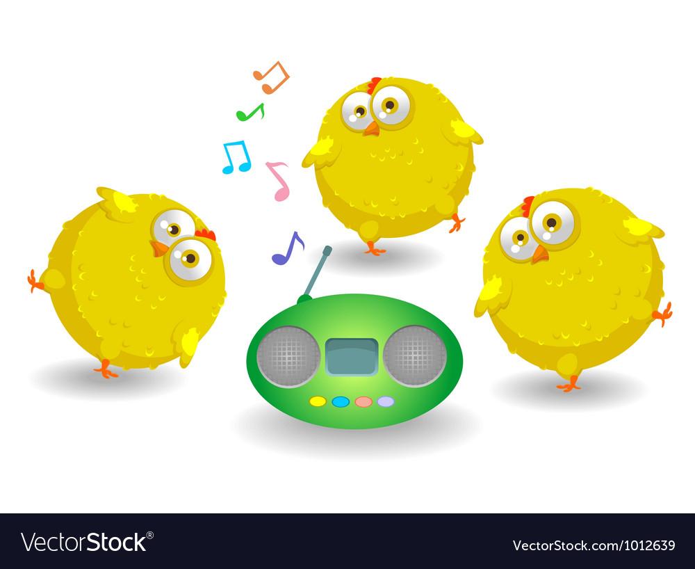 Three funny chicken dance vector image