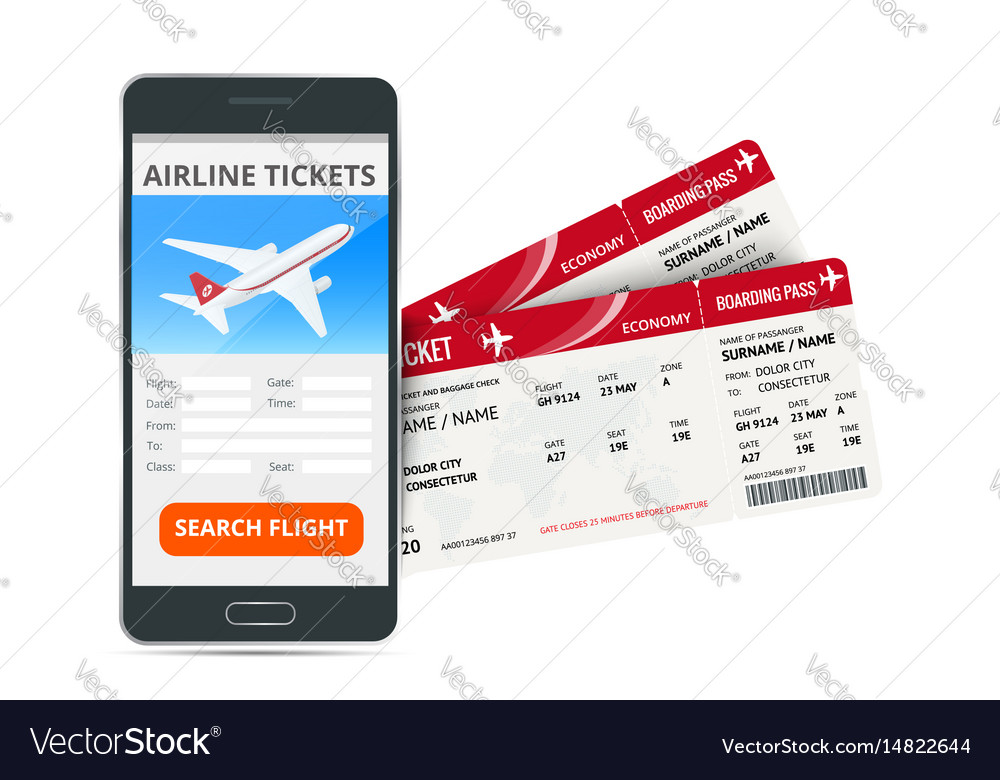 Airline ticket or boarding pass for traveling by