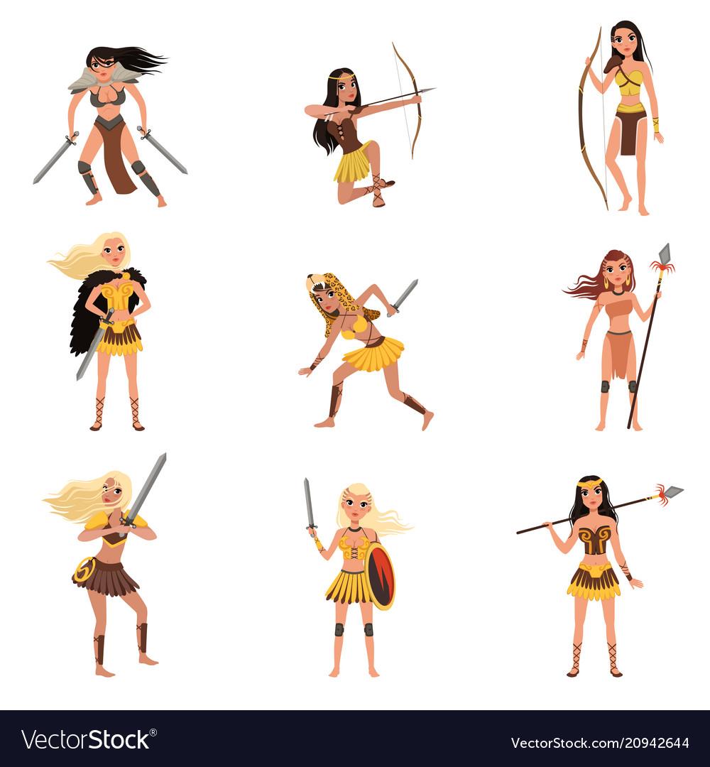 Amazon girls set women warriors with spears