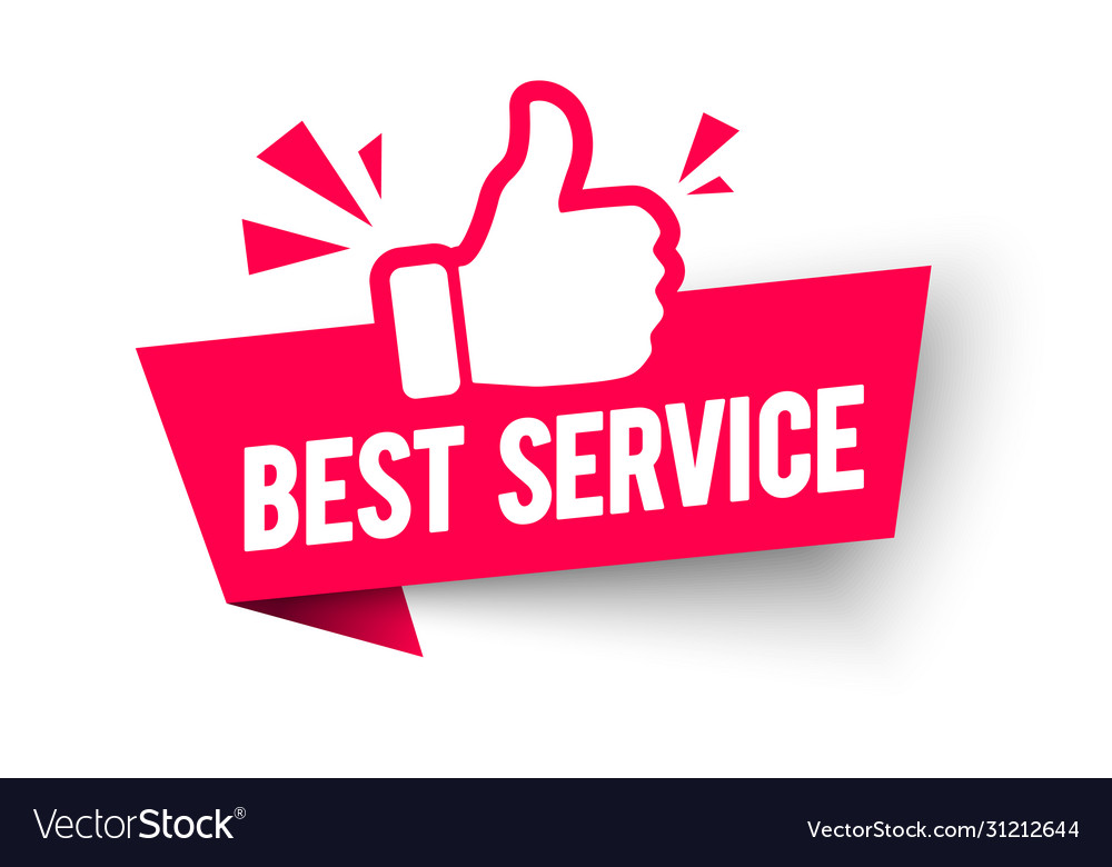 Best service label modern web banner thumbs up vector