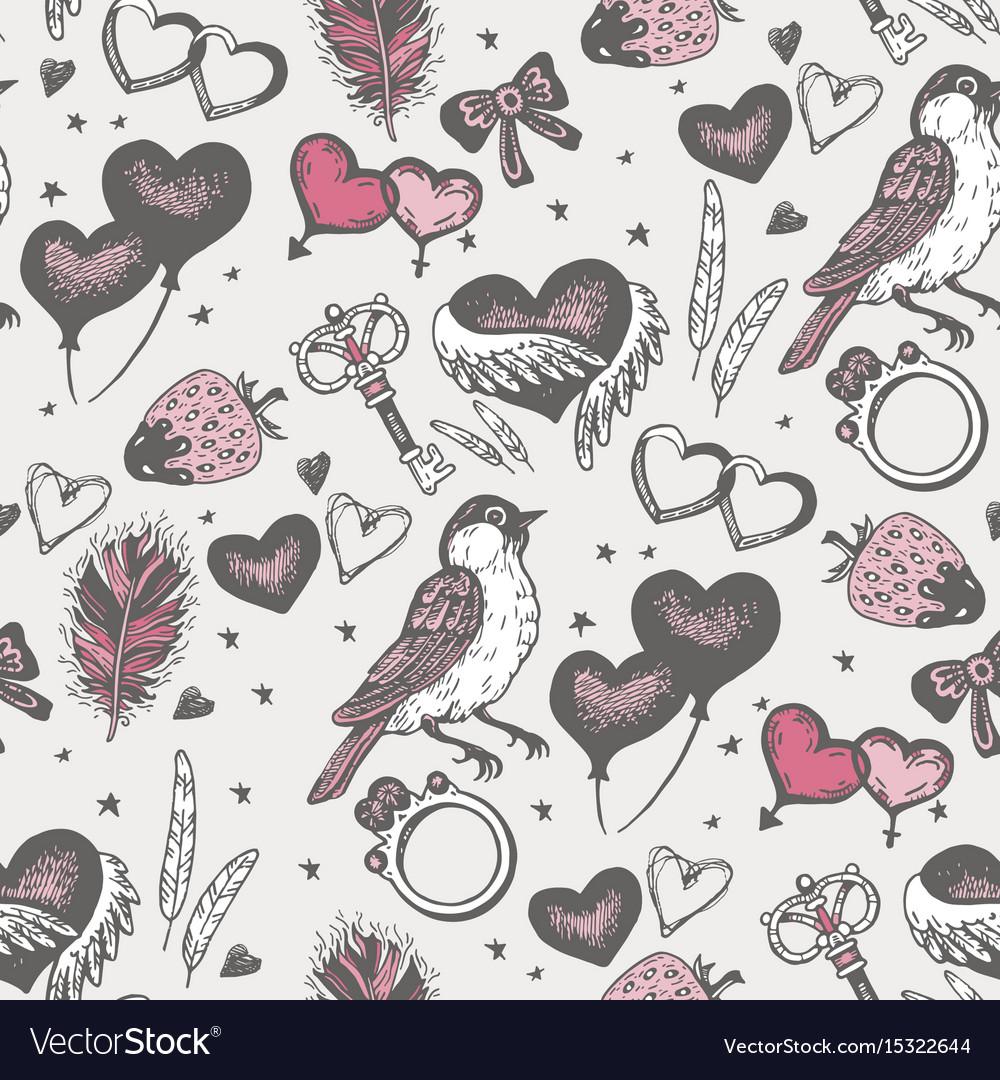 Bird with pink heart seamless pattern