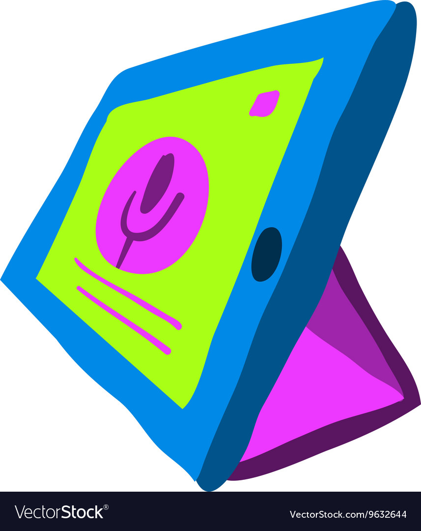 Cartoon tablet pc flat icon vector image