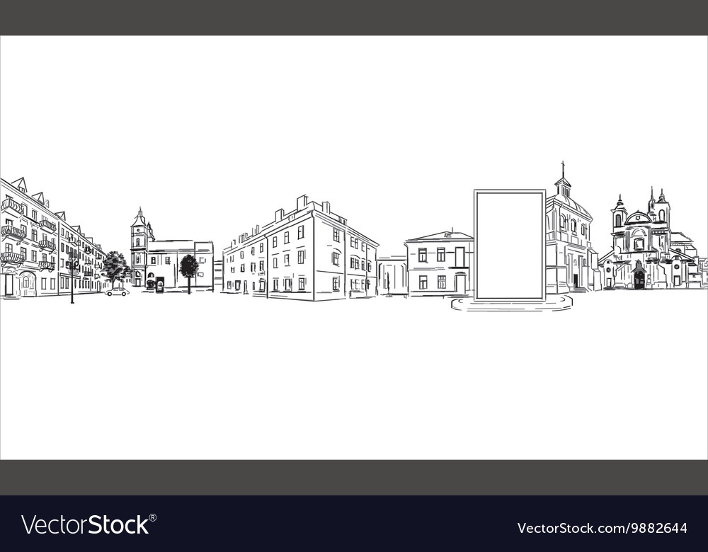 City buildings and billboard vector image