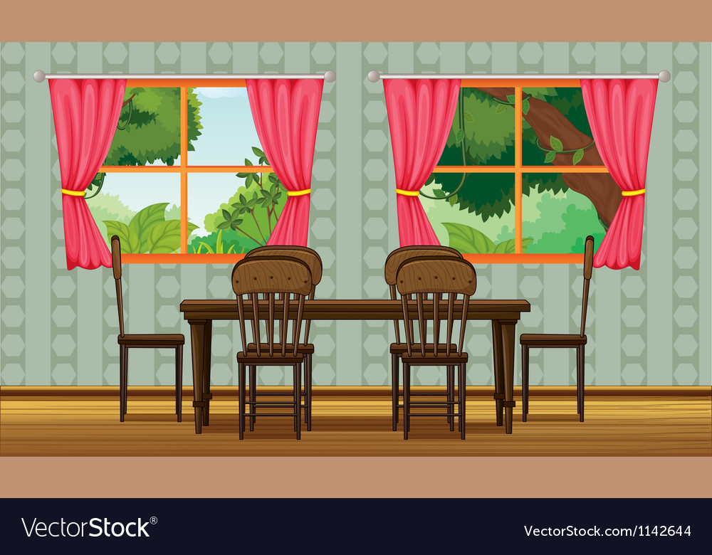 colorful dining room royalty free vector image. Black Bedroom Furniture Sets. Home Design Ideas