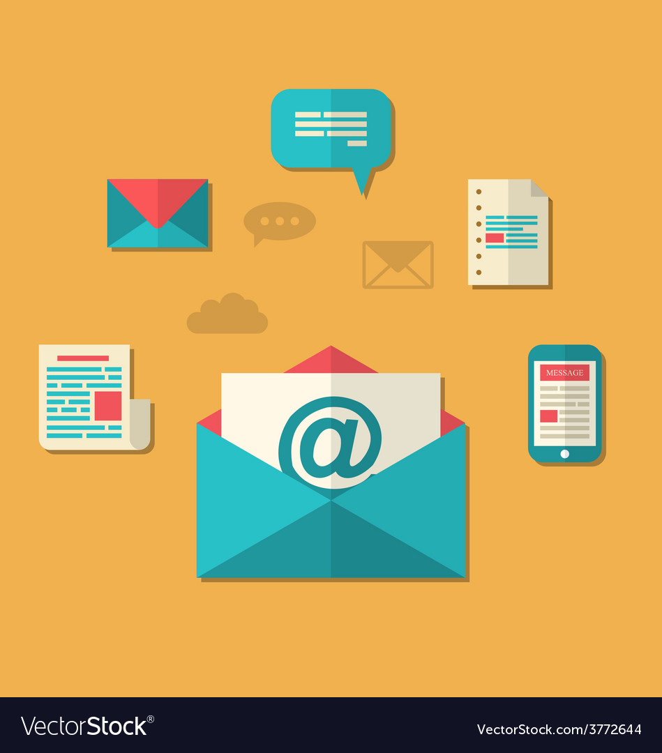 Concept of email marketing - newsletter and