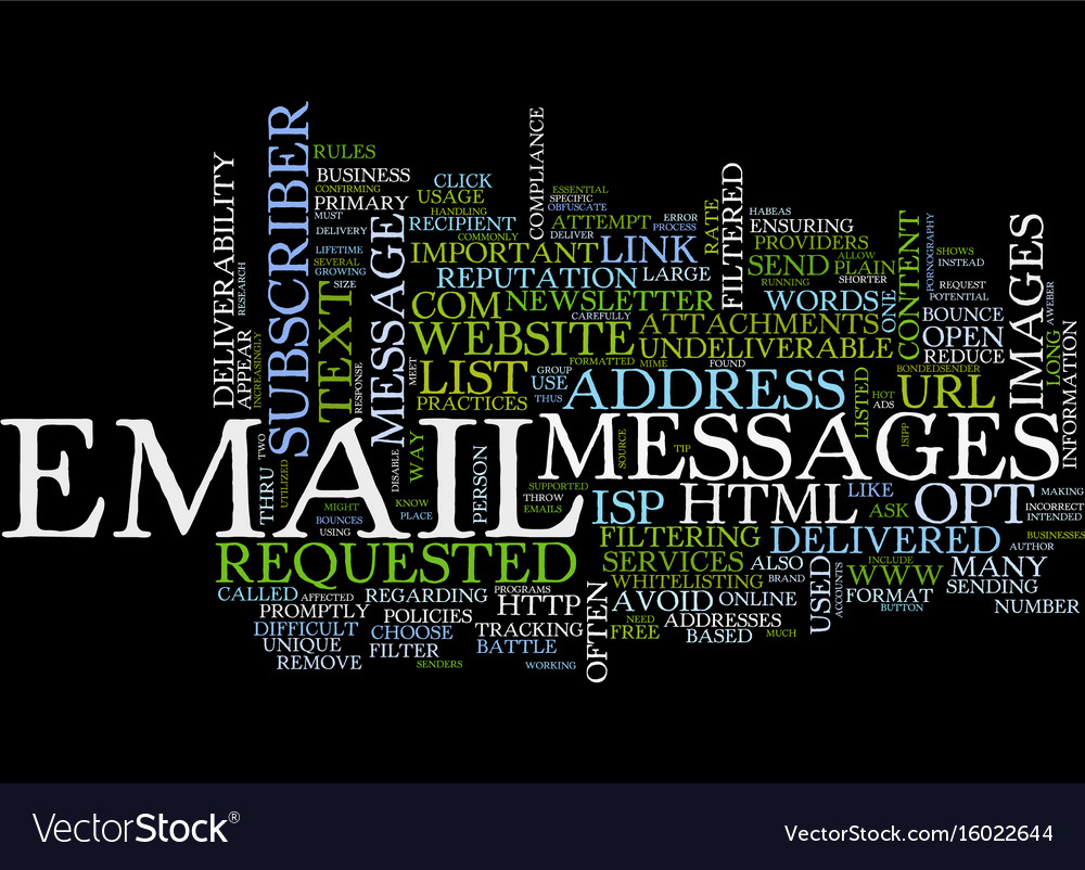 Email deliverability tips text background word