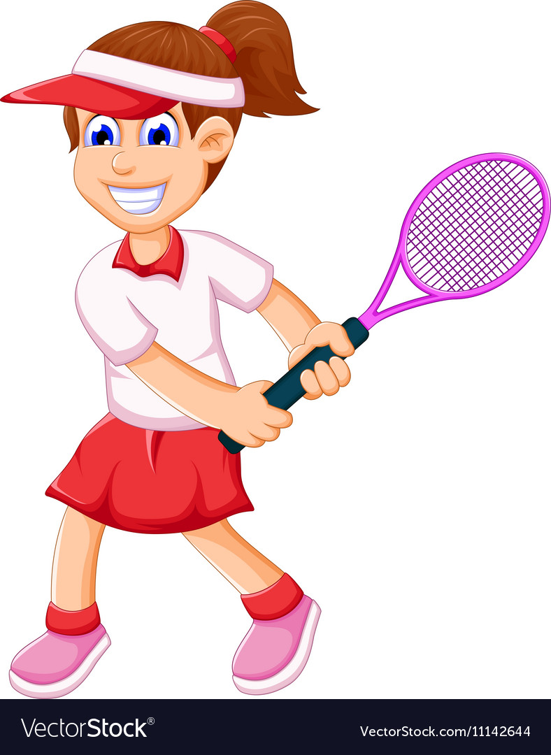 Funny girl cartoon playing tennis