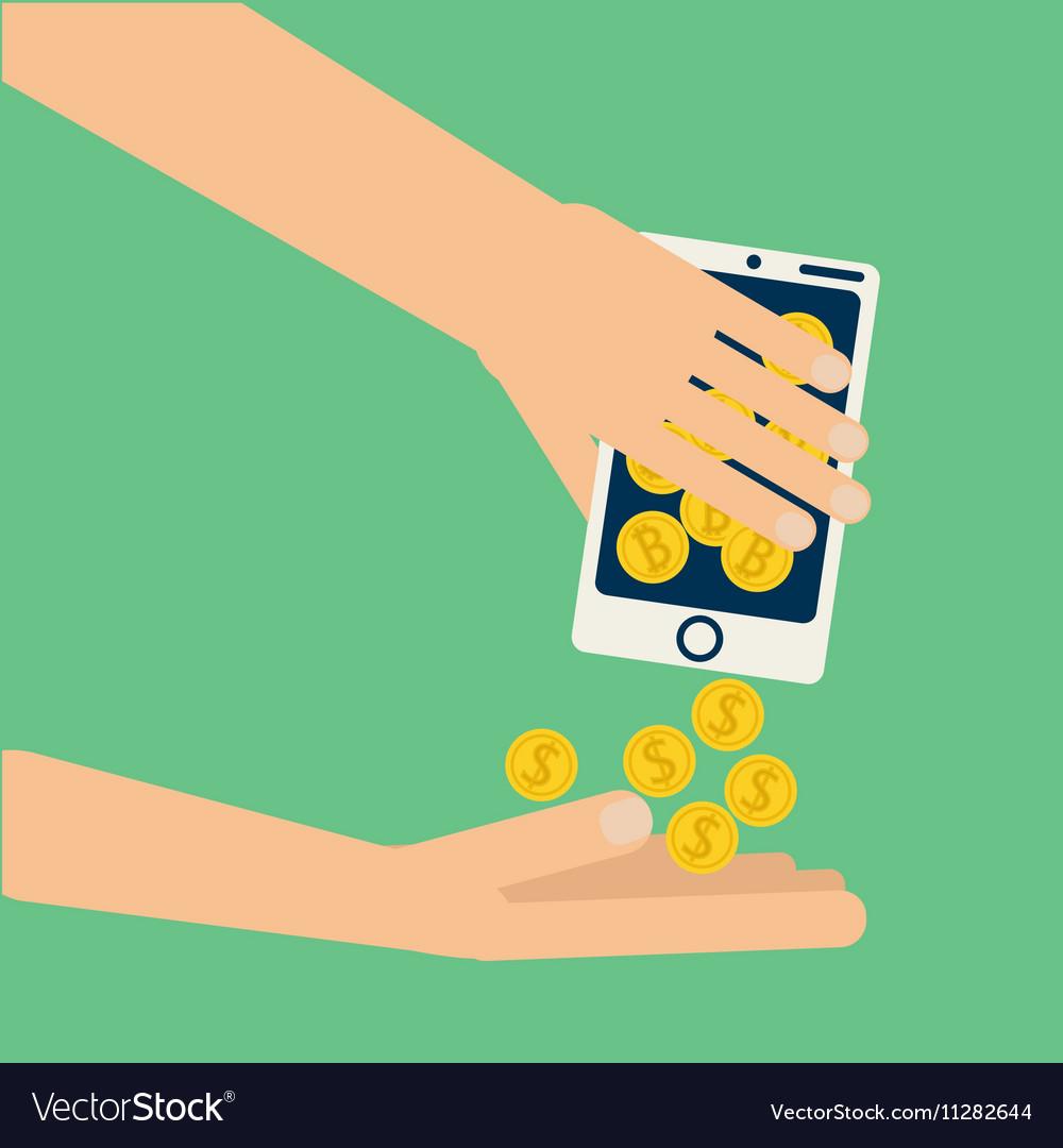 Hand bitcoin dollar