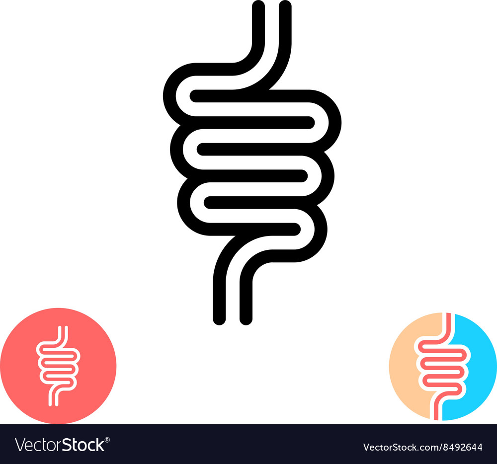 Intestines black symbol icon Simple linear rounded