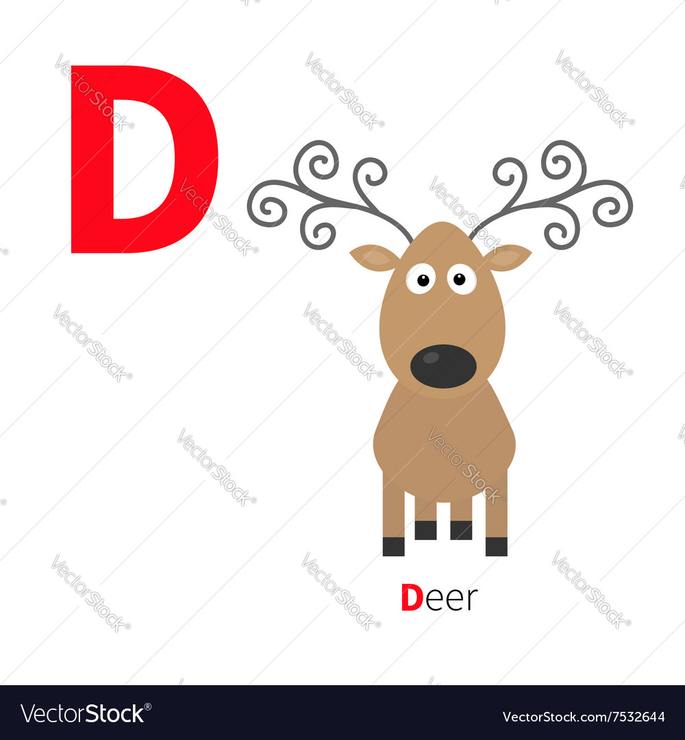 Letter D Deer Zoo alphabet English abc with