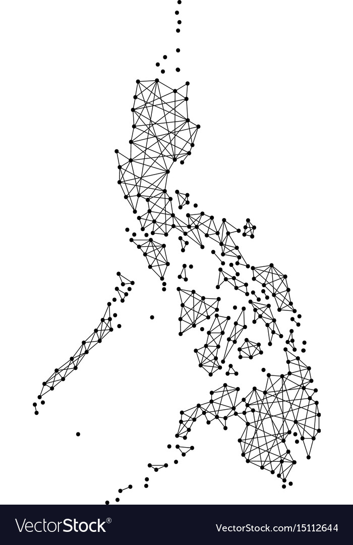 Philippines Map Black And White.Map Of Philippines From Polygonal Black Lines Vector Image